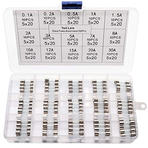 15 Values 150pcs Quick Blow Glass Tube Fuse Assorted Kit 5x20mm 250V 0.1A, 0.2A, 0.5A, 1A, 1.5A, 2A, 3A, 5A, 7A, 8A, 10A, 12A, 15A, 20A, 30A Ted Lele (5x20mm)