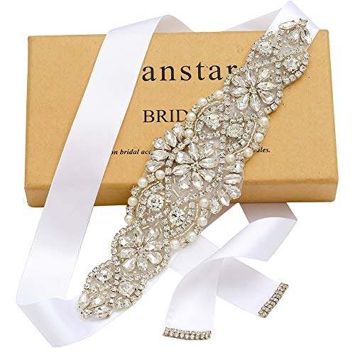 - Yanstar White Sash Crystal Applique Wedding Bridal Belts In Silver With Pearls Beaded On Wedding Prom Dress-7.7In2In