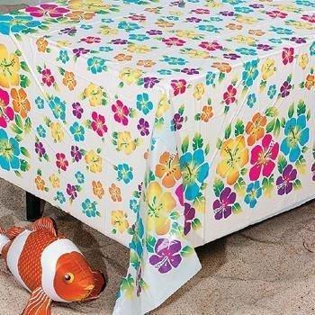 Fun Express Hibiscus Print Plastic Tablecloth