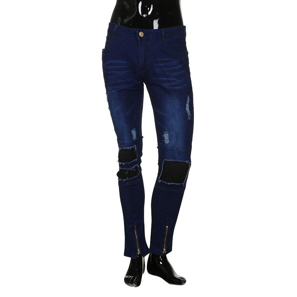 OCASHI Mens Distressed Ripped Biker Slim Jeans Stretched Moto Denim Pants (XL, Dark Blue)