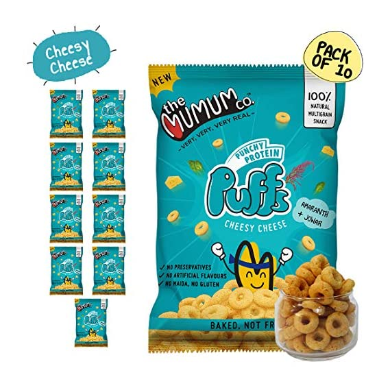 The Mumum Co. Healthy Snacks Protein Cheesy Cheese Puffs for Kids, 200 g- Pack of 10