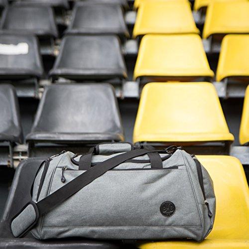 Borussia Dortmund Wochenendtasche, Grau, Polyester, 60 cm x 30 cm x 30 cm, Reißverschlusstaschen, BVB-Emblem, Henkeltasche one size