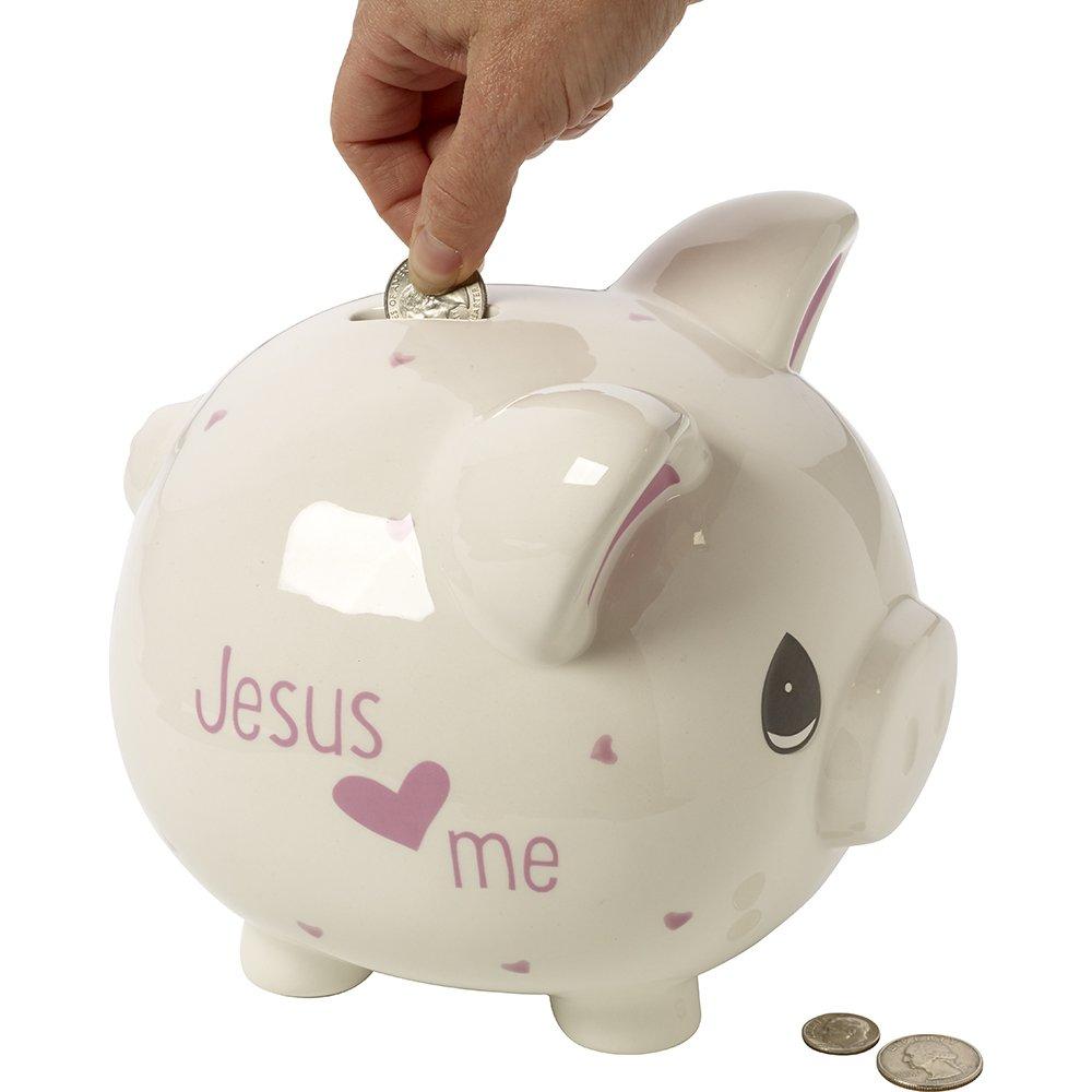 Precious Moments,  Jesus Loves Me, Ceramic Piggy Bank, Girl, 164460 by Precious Moments (Image #3)