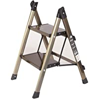 Escalera plegable de aluminio liviana y escalonada de escalera 2 en 1 con antideslizante Robusto y amplio Taburete de…
