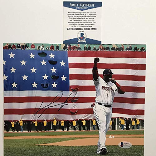 (Autographed/Signed David Ortiz Boston Red Sox 8x10 Baseball Photo Beckett BAS COA)