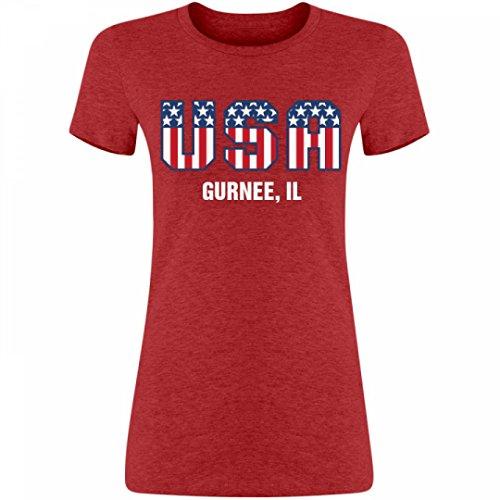 Cute USA 4th Of July Gurnee, IL: Junior Fit Bella Triblend T-Shirt (City Of Gurnee Il)