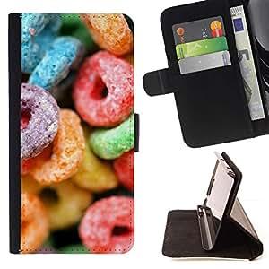 Momo Phone Case / Flip Funda de Cuero Case Cover - El azúcar de caramelo dulces colorido de neón de goma - Samsung Galaxy J3 GSM-J300