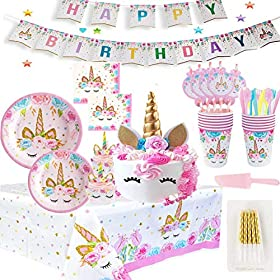 Shelling Home Birthday Party Supplies Including Plates Cups Straws Tablecover for Birthday Party Serve 16 Guests