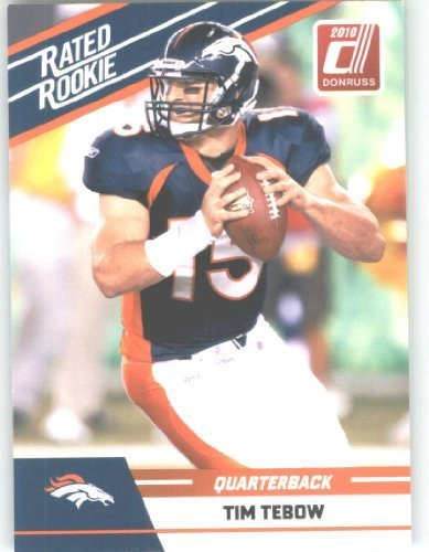 2010 Donruss Rated Rookies Football Card #95 Tim Tebow - Denver Broncos (RC - Rookie Card) NFL Trading Card