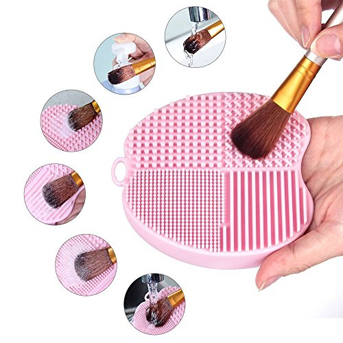 (MelodySusie Makeup Brush Cleaner Silicone Brush Cleaning Mat Cosmetic Brush Cleaner Pad Portable Washing Tool Scrubber with Suction Cup - Apple Shape)