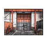 Door Decor Old Metal Gate in Vehicle Repair Station Bath Rugs Non-Slip Doormat Floor Entryways Outdoor Indoor Front Door Mat Kids Bath Mat 15.7X23.6In Bathroom Accessories