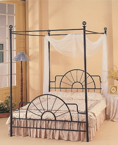 Queen Complete Black Wrought Iron Canopy Bed ()