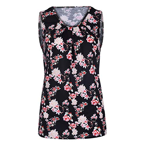 FDSD Women Top Womens Tank Tops O-Neck Sleeveless Loose Floral Printed Summer Casual Vest Shirt Blouse Cami (L, Black) by FDSD Women Top (Image #1)