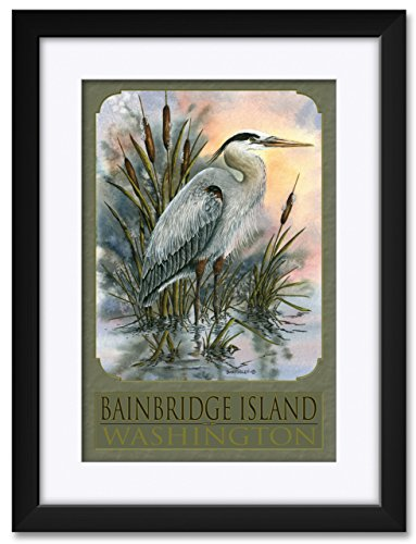 Northwest Art Mall Bainbridge Island Washington Blue Heron at First Light Framed & Matted Art Print by Dave Bartholet. Print Size: 12