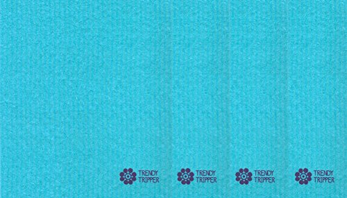 Trendy Tripper Swedish Dishcloths, Reusable Set of 4 (Four) Solid Mixed Colors (4 Turquoise)