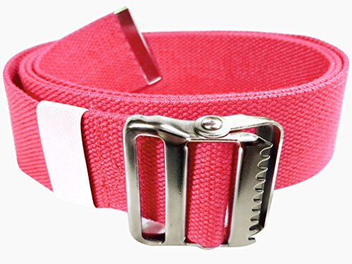 LiftAid Walking Gait Belt and Patient Transfer with Metal Buckle and Belt Loop Holder for Nurse, Caregiver, Physical Therapist (Pink, 60)