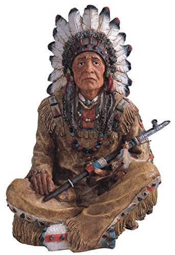 StealStreet Polyresin Old Native American with Smoking Pipe Figurine, 14