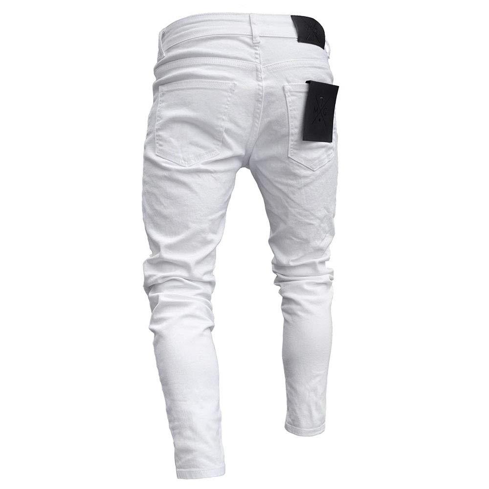 XWGlory Los Hombres Rasgaron Los Pantalones Vaqueros del Bordado Flaco De La Historieta Jeans El/ásticos del Dril De Algod/ón