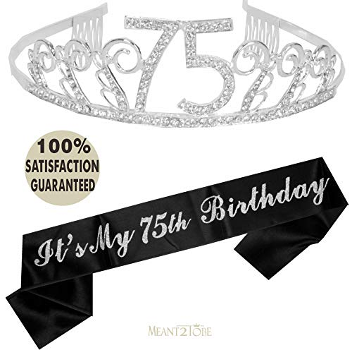 75th Birthday Tiara and Sash, Happy 75th Birthday Party Supplies, 75 & Fabulous Black Glitter Satin Sash and Crystal Tiara Birthday Crown for 75th Birthday Party Supplies and Decorations