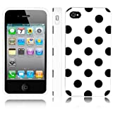 iPhone 4 Case, MagicMobile® Ultra Thin Cute Slim TPU Rubber Gel Polka Dot [SLIM-FIT] Case Cover for iPhone 4 / 4S [ White - Black ]