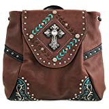 Justin West Trendy Western Cross Rhinestone Leather Conceal Carry Top Handle Square Backpack Purse (Brown Backpack)