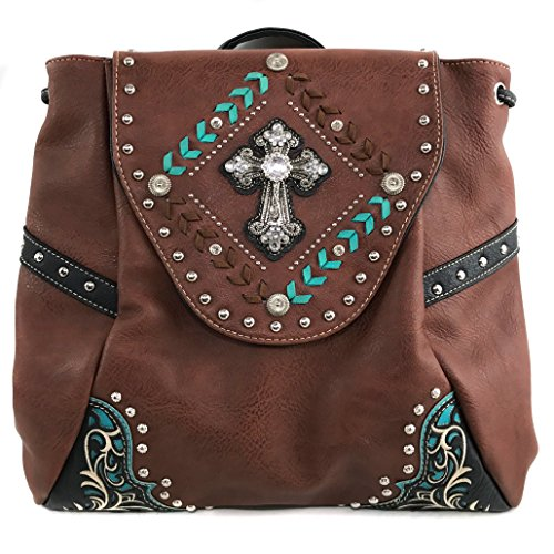 Justin West Trendy Western Cross Rhinestone Leather Conceal Carry Top Handle Square Backpack Purse (Brown Backpack) by Justin West