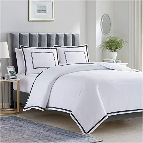 Mellanni Duvet Cover Set Hotel Collection - Double Brushed Microfiber 1800 Bedding - Wrinkle, Fade, Stain Resistant - 3 Piece (Full/Queen, Hotel White with Gray Embroidery)