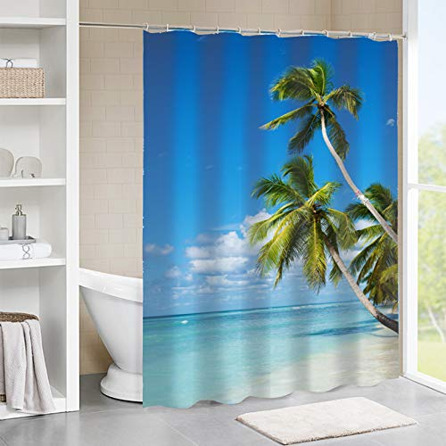 Tititex Shower Curtain Tropical Palm Trees with Sea Beach 69X70 Inch Bathroom Decor Set with Hooks
