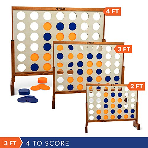 Giant 4 in A Row, 4 to Score with Carrying Bag - Premium Wooden Four Connect Game Set in 3' Wood Grain by Rally & Roar - Oversized Family Outdoor Party Games for Backyard, Lawn, Parties, Bar Game