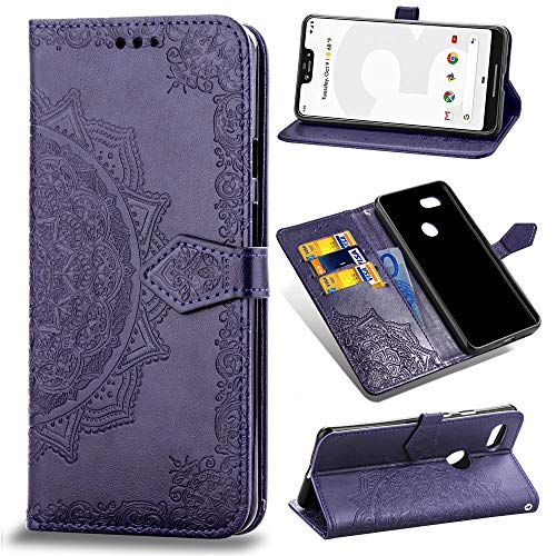 Price comparison product image Aslim Google Pixel 3 XL Case, Google Pixel 3 XL Flip Case, Google Pixel 3 XL PU Leather Wallet Embossed Mandala Floral Flowers Case with Kickstand Flip Cover Card Holder for Google Pixel 3 XL Purple