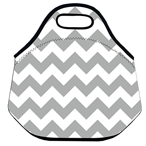 Lionkin8 Neoprene Lunch Bag Grey Zigzag Insulated Lunch Tote for Women Girls Boys (Gourmet Picnic Baskets To Go)