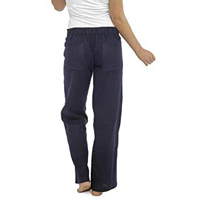 Vectry Mujer Linen Pure Color Cintura Alta Pantalones Anchos ...