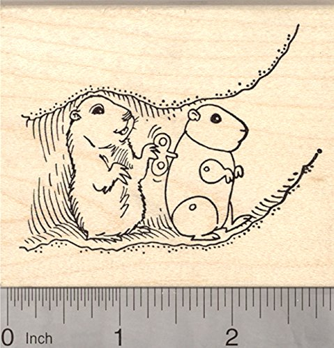 Groundhog Day Rubber Stamp, Marmot with Wind up Clockwork Robot Imposter, Prank