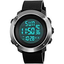 Men's Digital Sport Watch Led Military Waterproof Electronic Wrist Watch with Alarm Stopwatch Dual Time Zone Count Down EL Backlight Calendar Date for men -Black
