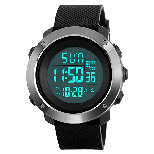 Mens Digital Sport Watch Led Military 50M Waterproof Electronic Wrist Watch with Alarm Stopwatch Dual Time Zone Count Down EL Backlight Calendar Date for Men-Black