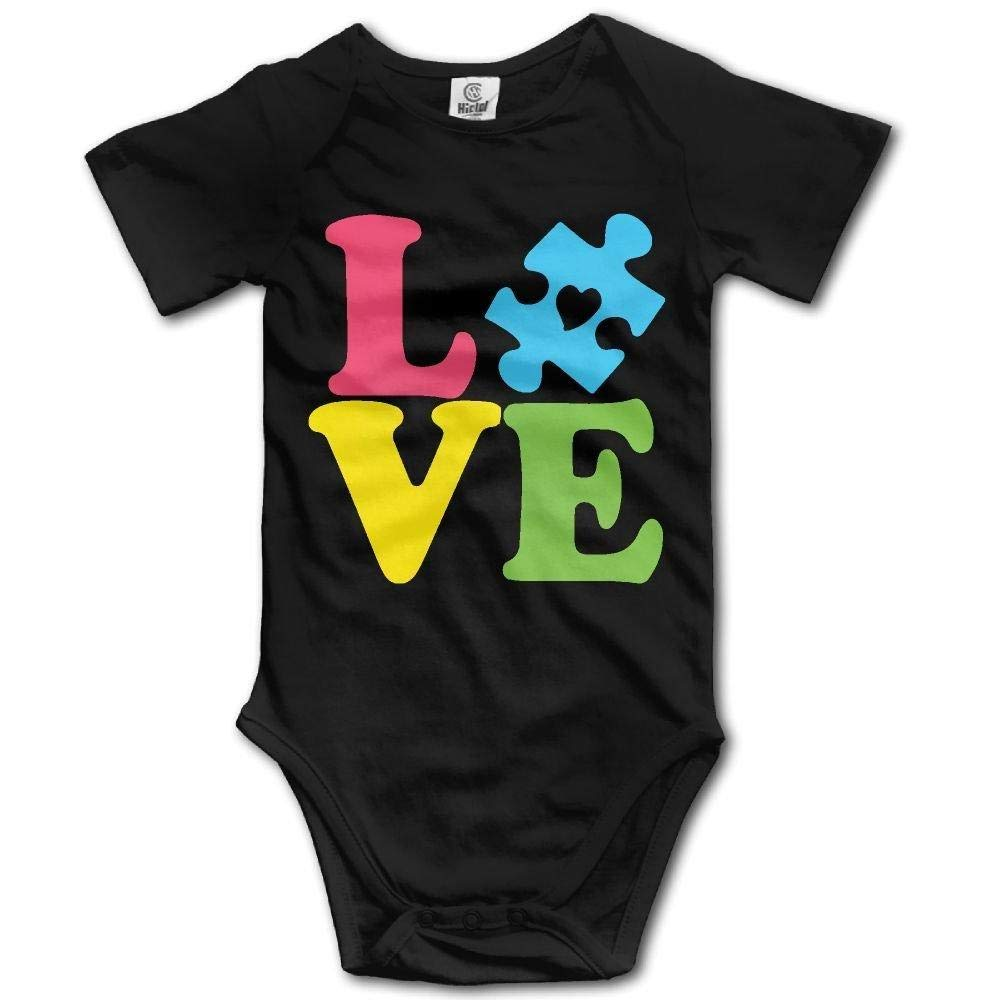 Autism Love Baby Newborn Infant Creeper Short-Sleeve Onesie Romper Jumpsuit