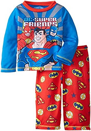 Komar Kids Baby Boys' Super Friends Super Hero Boys' Poly 2 Piece Pajama Set, Red, 24 Months