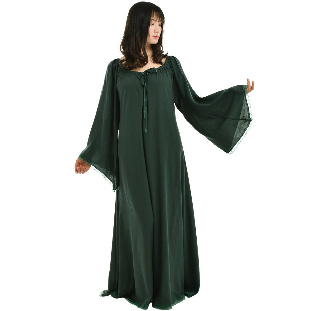 Medieval Women's Green Lace Trimmed Bell Sleeve Chemise - DeluxeAdultCostumes.com