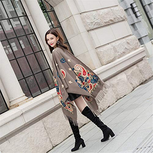 JYJSYMFZScarf Shawl Spring and Autumn Winter Embroidery Imitation Cashmere Scarf National Wind Cashew Beaded Shawl Warm Tassel, 17,200cm with Tassel Warm Sun Shade Decorative dust ()