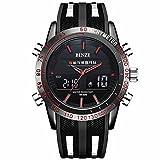 BINZI Military Waterproof Sport Watch, Casual Quartz Multifunction in Black Silicone Band