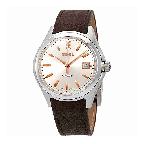 Ebel Wave Silver Dial Brown Leather Automatic Mens Watch