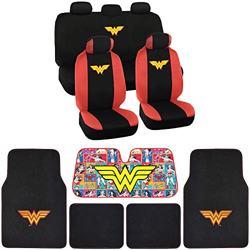 BDK WB Seat Cover, Carpet Floor Mat and Sun Shade - Warner Brothers 16 Piece Full Interior Protection Auto Accessories (Wonder - Wb Floor