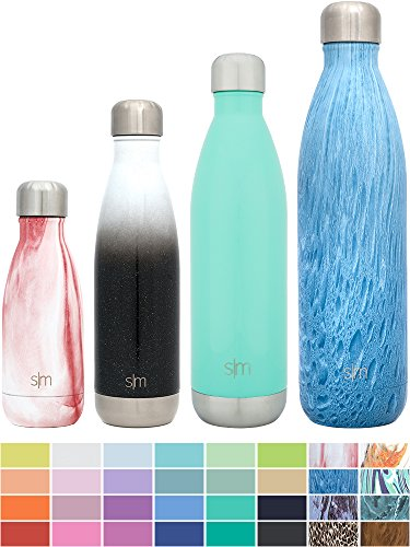 Simple Modern 34oz Wave Water Bottle - Vacuum Insulated Double Wall 18/8 Stainless Steel 1 Liter Hydro Swell Flask - Concept Collection - Aqua Rain