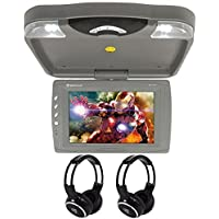 Package: Rockville RVD13HD-GR Grey 13 Flip Down Car Monitor DVD Player With HDMI, USB/SD Inputs, Games, And Wireless Remote/Game Controller + (2) Rockville RFH3 Dual Channel Wireless Ir Headphones