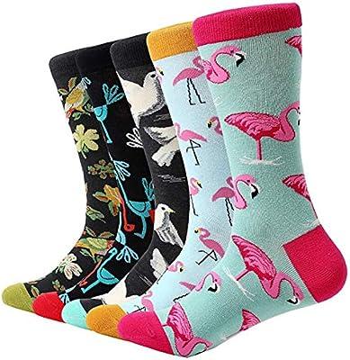 Elanpu 5 Pares de Calcetines de Dibujos Animados para Hombre, de algodón, con diseño de Flores Coloridas, para Hombre, Casual, Vestido de Boda, Mujer, F023: Amazon.es: Deportes y aire libre