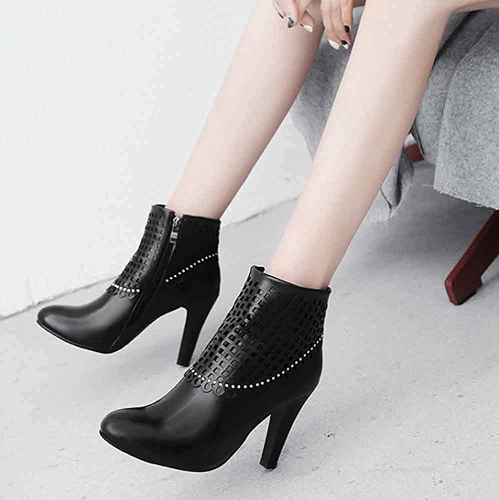 Rhinestones Round Toe Unm Womens Perforated Short Boots with Zipper High Chunky Heel Ankle Booties