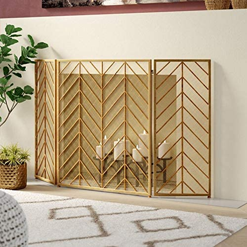 暖炉 スクリーン シンプル 3パネルの暖炉スクリーンの家の装飾- リビングルーム用のゴールドファイヤースパークガードゲート、 Woodストーブアクセサリー、ワイド51インチ (Color : Gold)