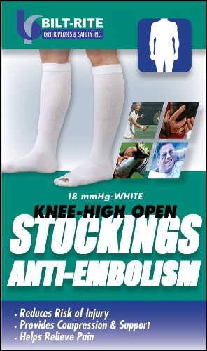 Bilt-Rite Mastex Health Knee High Anti Embolism Stockings, White, Large