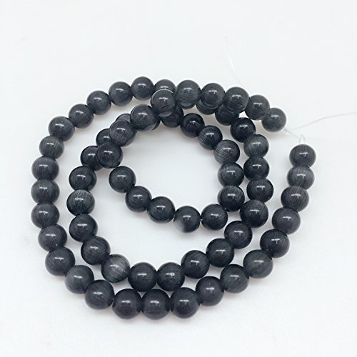 Black Cats Eye Beads - PEPPERLONELY Brand 66 PC (Apprx 18Grams) Round Black Cat Eye Beads, 6mm(1/4 Inch)