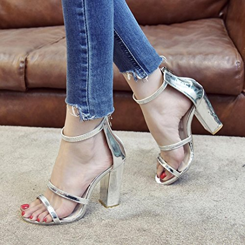 VEMOW High Heels for Women, for Work Utility Footwear Gladiator Closed Toe Platform Sparkly Roman Sandals Party Club Office Court Shoes, Zip Ladies Ankle Casual Open Toe Singel Silver